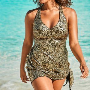 Swimsuits For All Convertible Gold Foil Swimdress